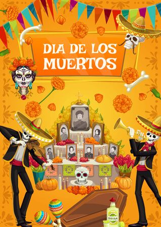 Dia de los Muertos, Mexican Day of Dead fiesta party, skeletons in sombrero play music. Vector Day of Dead Mexico celebration, catrina calavera skull and photos with marigold flowers on altar