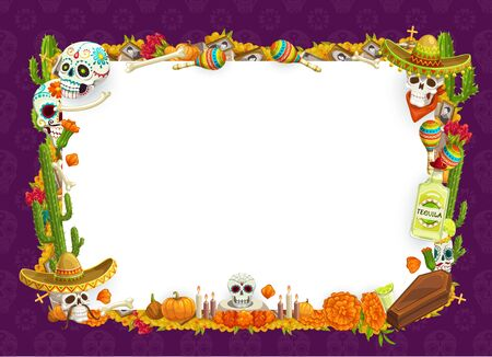 Day of Dead Mexican Dia de los Muertos holiday blank poster with calavera skulls and marigold flowers frame. Vector Day of Dead celebration, cactus tequila with candles, maracas and coffin