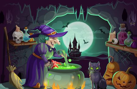 Halloween witch preparing potion in cauldron. Cartoon old woman sorceress in purple hat, pumpkins, bats and broomstick, black cat, magic poison and skull candlestick, autumn holidays vector design