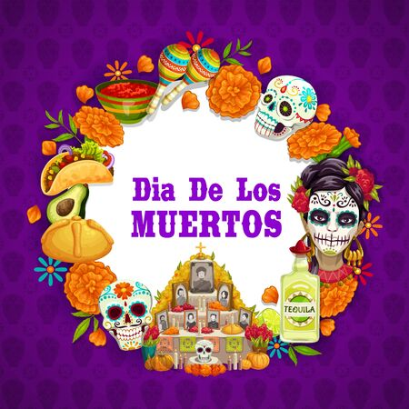 Day of Dead or Dia de los Muertos Mexican holiday symbols on calavera skull and marigold flower pattern background. Vector Day of Dead altar with photos and candles, tequila and traditional food Ilustração