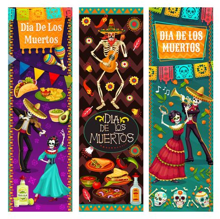 Dia de los Muertos, dancing with dead in Mexico, vector. Endless dance of life and death, man and woman skeletons, holiday symbols. Food and drinks, tequila and burritos, maracas and guitar, calavera