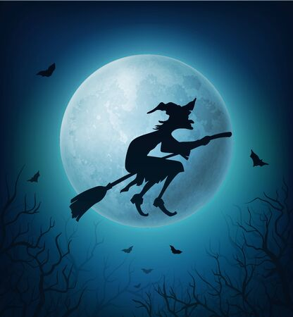 Witch flying on broom in Halloween horror night sky. Black silhouette of evil woman on broomstick against full moon, bats and spooky tree branches. Halloween autumn holiday vector theme