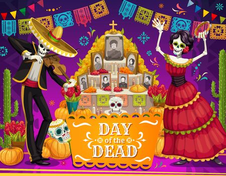 Day of the Dead Mexican holiday dancing skeletons near altar vector greeting card. Mariachi skeleton and Catrina with sombrero, sugar skulls and marigold flowers, cactus and festive bunting garland