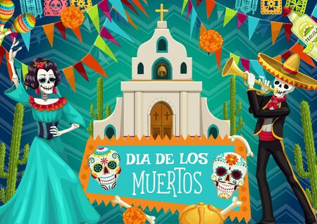 Day of Dead Mexican party, Dia de los Muertos poster. Vector dead man and woman skeletons dancing, at church with cross, skeleton bones and calavera skull, marigold flowers and cactus Иллюстрация