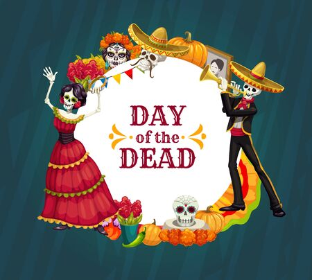 Dancing skeletons of Mexican Day of the Dead holiday vector design with sugar skulls, marigold flowers and Catrina calavera. Halloween festival sombrero, mariachi mustache and flamenco dancer dress Illustration