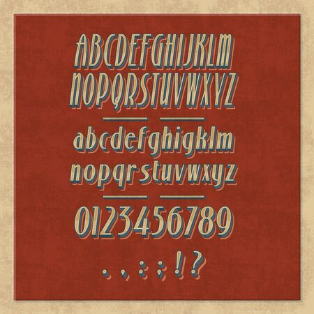 Alphabet letters, numbers and punctuation marks retro font. Vector capital, uppercase and lower case letters, vintage type. English ABC symbols, exclamation point, question mark, colon and semicolon Illustration