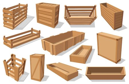 Crates and wooden drawers, empty transportation and distribution boxes isolated. Vector wooden pallets and parcels, vegetable and fruit containers with holes. Cargo packs, open and closed packagings