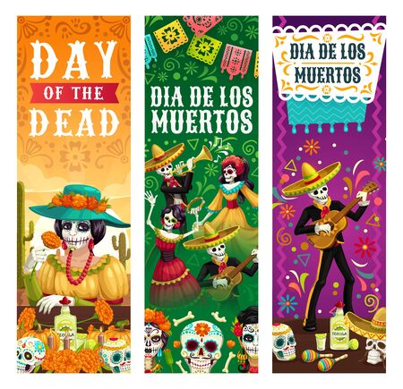 Dia de los Muertos, Mexican Day of Dead fiesta banners, skeletons in sombrero play maracas and dance at party. Vector Day of Dead celebration, Mexico flags, skulls, marigold flowers and tequila