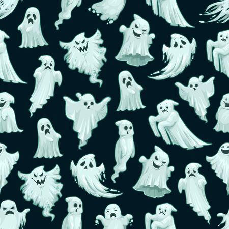 Halloween ghost or poltergeist monster seamless pattern. Vector Trick or Treat Halloween party cartoon horror evil boo on black scary background
