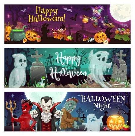 Happy Halloween vector greeting banners of horror night ghosts, monsters and pumpkins at cemetery. Scary witch, vampire and zombie, evil skeleton skull, devil and spooky dracula with potion cauldron Illustration