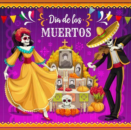 Altar del Día de los Muertos con esqueletos bailando diseño vectorial de la fiesta mexicana del Día de los Muertos. Esqueletos de catrina y mariachi con sombrero de fiesta, traje y vestido, lápida y calaveras de azúcar Ilustración de vector