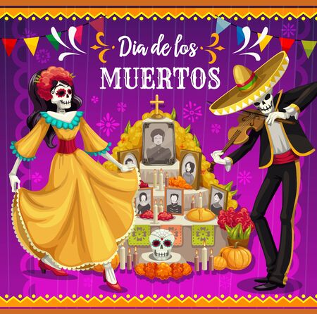 Day of the Dead altar with dancing skeletons vector design of Dia de los Muertos Mexican holiday. Catrina and mariachi skeletons with festival sombrero, costume and dress, tombstone and sugar skulls