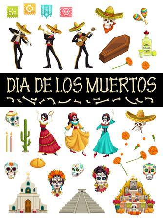 Day of Dead Mexican holiday symbols and Dia de los Muertos party icons. Vector Dia de los Muertos fiesta skeletons in sombreros, dancing calavera skulls, altar with marigold flowers and maracas Illustration