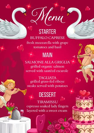 Menu on wedding day, food and drinks, starter, main course and desserts. Vector buffalo caprese, salmone alla griglia, tagliata and tiramissu. Save the date dinner, couple of swans and flower bouquets Иллюстрация