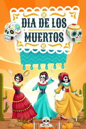 Day of Dead, Mexican Dia de los Muertos fiesta, woman skeletons with catrina calavera skulls dancing. Vector Day of Dead, Mexico party celebration, altar candles and pecked paper flags Illustration