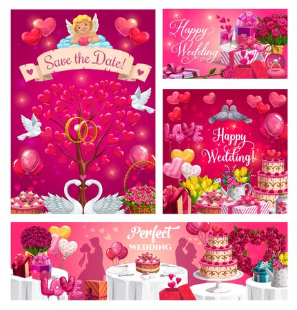 Perfect wedding day, Save the date inscription on banner with cupid. Vector marriage party invitations, engagement rings and happy couples. Preparations to bridal nuptials, hearts and flowers, cake