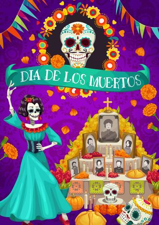Dia de los Muertos Mexican national holiday and altar with photos of gone people. Vector skull in flower frame, candles and cards with dead. Catrina and garlands of flag, Day of Dead in Mexico Иллюстрация