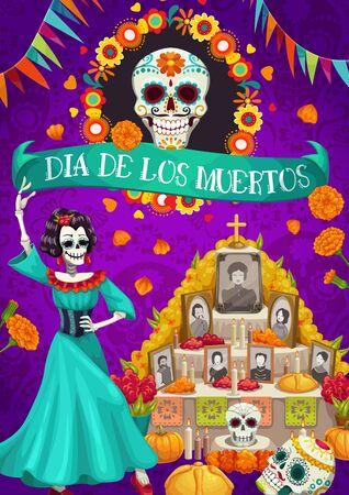 Dia de los Muertos mexikanischer Nationalfeiertag und Altar mit Fotos von verschwundenen Menschen. Vektorschädel im Blumenrahmen, in Kerzen und in Karten mit Toten. Catrina und Fahnengirlanden, Tag der Toten in Mexiko
