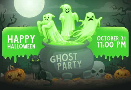 Halloween ghost party vector invitation with horror holiday monsters on cemetery. Evil spirits and phantoms flying out of witch cauldron, scary pumpkins, skeleton skull and black cat