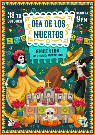Dia de los Muertos skeletons dancing near Day of the Dead altar, Mexican party vector invitation. Tombstone with sugar skulls, Catrina and mariachi skeleton, sombrero, marigold flower and flag garland Иллюстрация