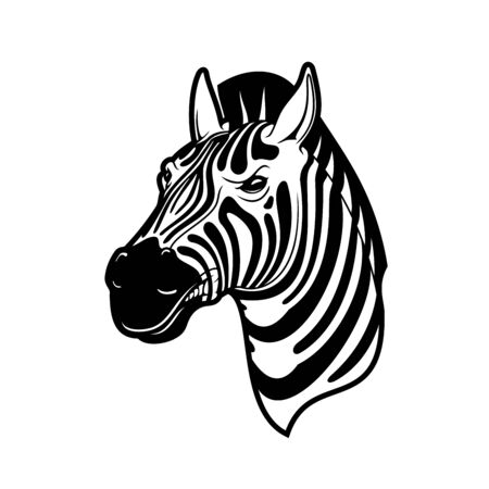 Zebra animal icon of African safari, zoo and hunting sport vector design. Head of wild horse or equid with black and white stripes, angry face and mohawk crest mane Illustration