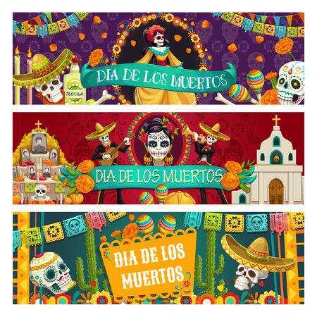 Day of Dead or Dia de los Muertos Mexican holiday banners of celebration traditional symbols. Vector woman head with calavera skull, altar with photos and pecked paper flags, skeleton playing guitar