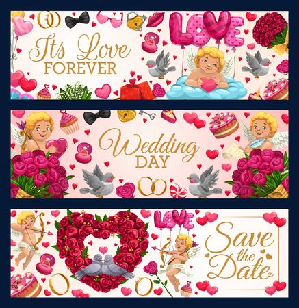 Love forever, Save the date and wedding day leaflets. Vector engagement ceremony lettering congrats and greetings. Cupids and sweets, flower bouquets wreaths, doves and air balloons, rings and hearts
