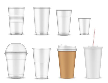 Cup vector mockups with 3d plastic and paper mugs of hot coffee drinks and cold juice beverages. Empty disposable containers of takeaway tea, milk and soda water with lids, straws and dome caps