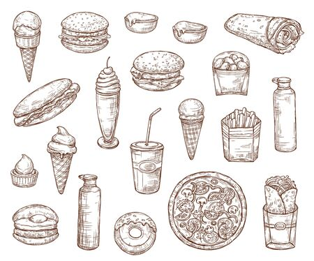 Fast food sketch menu icons, burgers, pizza and sandwiches. Vector fastfood meal and snacks sketch, hamburger with potato fries, Mexican burrito and doner or chicken wrap, milkshake, coffee and soda