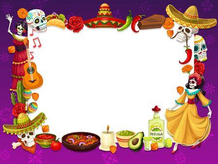 Dia de los Muertos frame with Mexican holiday symbols. Vector calavera skull, burritos, flowers and sombrero hat, chili pepper and coffin. Dancing dead woman and tequila, guitar, maracas and avocado Ilustração