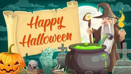 Halloween holiday, spooky night and evil wizard. Vector old man with scepter and fire, potion and gravestones and cemetery, zombie hand and pumpkin, skull and moon, magic and cauldron, parchment ingot