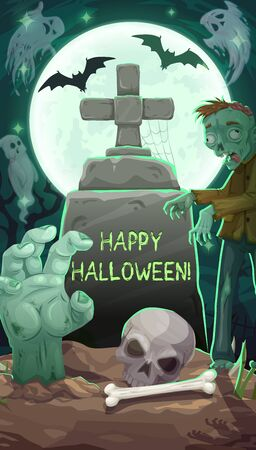 Happy halloween, tombstone on cemetery, zombie and ghosts. Vector night of horror, decay moon and bats, gravestone with cross and cobweb, hand overgrown from grave. Skull and bones at graveyard