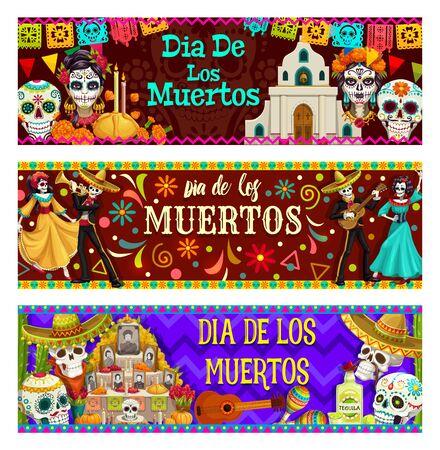 Dia de los Muertos, mexikanischer Tag der Totenfeier. Vektor-Calavera-Schädel, katholische Kirche, Kerzen im Brot, Catrina-Köpfe. Tanzende Skelette, Altar mit Fotos von verschwundenen Menschen, Gitarre und Maracas