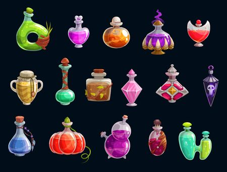 Witch potions, halloween party attributes, magic. Vector elixir of love and death, magical changes, bottles and flasks of color liquids. Trick or treat, autumn holiday, evil character accessories