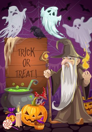 Evil wizard cooking poison potion in cauldron on Halloween night. Vector holiday of horrors, flying ghosts and bats, raven on board with tick or treat lettering. Pumpkin lanterns, candle and sweets Stock Illustratie