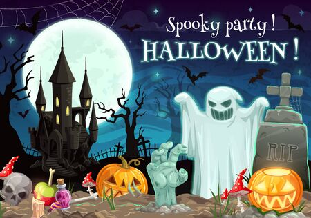 Halloween spooky party on graveyard with castle. Vector scary night with ghost and zombie hand, RIP on gravestone, bats in sky at moonlight. Skull and potion, pumpkins or jack-o-lanterns, fly-agaric Illustration
