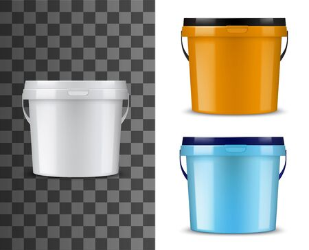 Bucket or pail vector mockups with plastic packages of paint or finishing building materials. Blank packs or cans with lids and handles 3d template of white, orange and blue containers