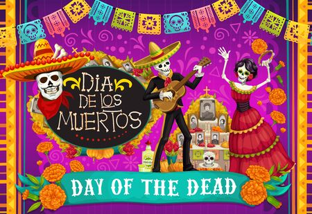 Day of Dead, Dia de los Muertos fiesta, skeleton in Mexican costumes and sombrero, play music and dance. Vector Dia de Los Muertos altar with marigold flowers and calavera skull
