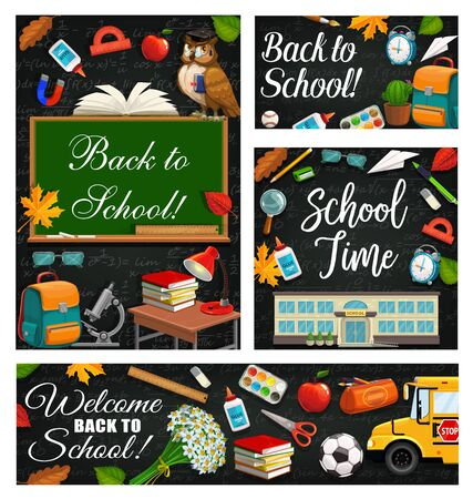 School time, 1st September start of studying, chalkboards with formulas. Vector stationery items and blackboard, flowers and bus. School building, wise owl, scissors and protractor, backpack and pen