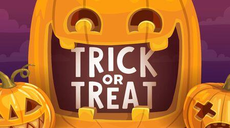 Halloween Süßes oder Saures gruseliges Kürbisvektordesign. Gruselige Kürbislaternen, Herbst-Horror-Feiertagsfeier-Grußkarte, orangefarbene Kürbisse mit geschnitzten lustigen Gesichtern, Augen und Lächeln