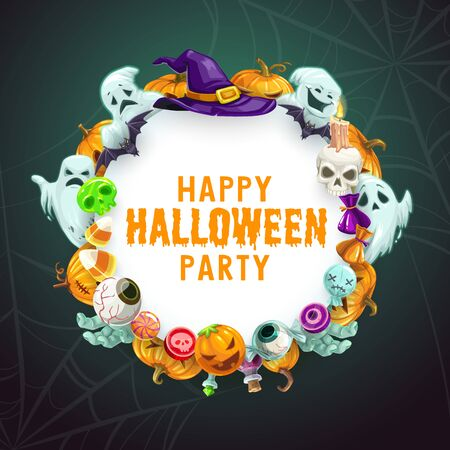 Halloween night party holiday ghosts and monsters in spider web. Vector Halloween trick or treat zombie eye candies, pumpkin lantern candles and dead hand with witch hat and skull potion