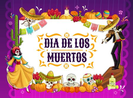 Mexican Day of the Dead vector design with skulls and Halloween pumpkins. Catrina and mariachi skeleton dancing with Dia de los Muertos festival sombrero, dress and maracas, altar with marigold flower