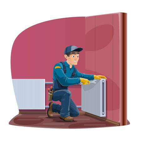 Radiator repair, home heating convector installation service. Vector worker man or repairman in uniform with hand tools spanner and wrenches repair house heater radiator Illustration