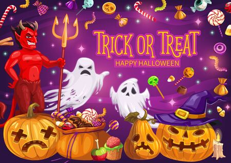 Halloween holiday trick or treat pumpkins with candies vector greeting card. Ghosts, red devil and lantern with witch hat and candle. Horror night party invitation design