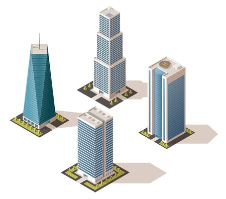 Modern business centers, isolated fashionable buildings with shadow. Vector real estate houses in 3D isometric design, multi-storey skyscrapers. City architecture, commercial towers with offices Çizim