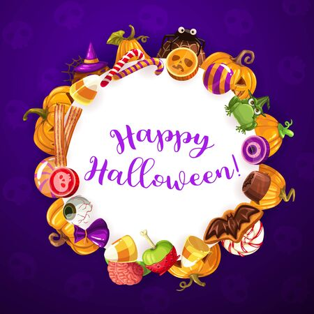 Halloween round banner with holiday sweets. Vector trick or treat party, sweet pumpkins and scary candy sweets and lollipops. Cookies in shape of bat, frog or witches hat, jelly confectionery