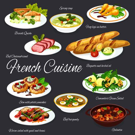 French cuisine baguette, served with meat and vegetable dishes vector design. Frog legs, cheese herb salad and cream soup, beef and pork stews, broccoli quiche, potato pancakes and quail bean salad Illustration