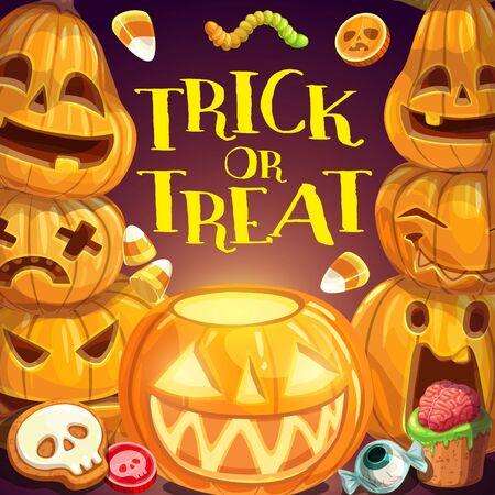 Fiesta de truco o trato de Halloween, cartel de celebración de la noche de terror. Linterna de calabaza de monstruo vectorial y dulces dulces de Halloween de mal de ojo, cráneo esquelético, cerebro espeluznante y gusanos aterradores