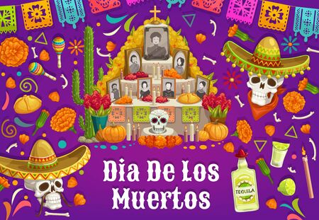 Day of Dead in Mexico, altar with photos of gone people. Vector Dia de los Muertos Mexican national holiday, skulls in sombrero hat, tequila and maracas. Food and drinks, cactus and burning candle Illusztráció