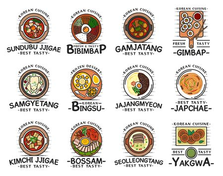 Korean cuisine food, traditional breakfast, lunch and dinner meals, restaurant cafe menu dishes. Vector Korean kimchi jjigae soup, bibimpap, gimbap and gamjatang, bingsu dessert and seolleongtang Vettoriali